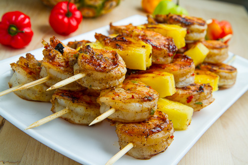 Grilled Jerk Shrimp and Pineapple Skewers 500w 7740