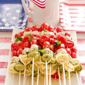 RECIPE: http://www.realwomenandhomes.com/2014/05/tortellini-kabobs-recipe.html