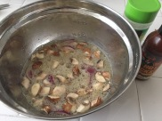 MIx yin our seasoning of preference. Here we mixed mushrooms, onions, hotsauce, pepper and garlic powder
