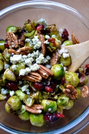 Pan Seared Brussle Sprouts with Cranberries & Pecans Salad